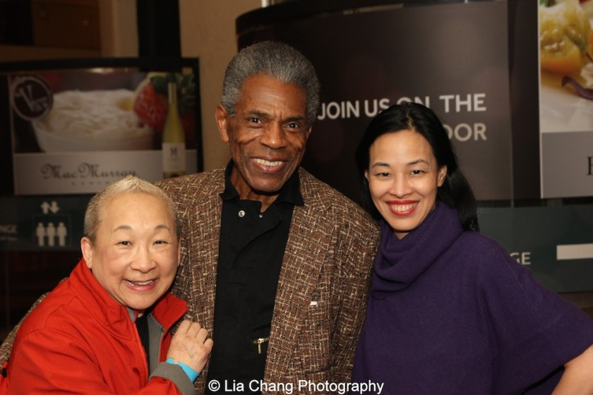 Lori Tan Chinn, André De Shields and Lia Chang at 'On Your Feet!' at the Marquis Theatre in New York on November 4, 2015. Photo by Lia Chang