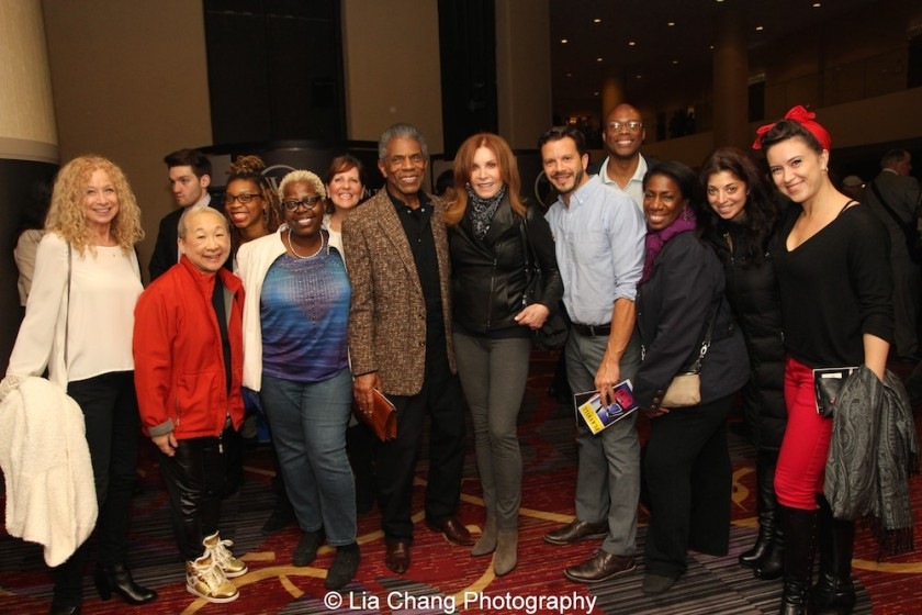 Murphy Cross, Lori Tan Chinn, Ari Groover, Lillias White, Madeline Doherty, André De Shields, Stefanie Powers, Nick Kenkel, Erich McMillan McCall, Virginia Ann Woodruff, Paula Caselton, Holly Butler at 'On Your Feet!' at the Marquis Theatre in New York on November 4, 2015. Photo by Lia Chang