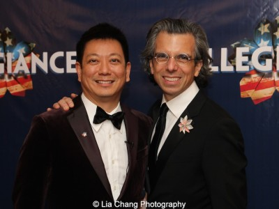 Jay Kuo and Marc Acito at the opening night party of 'Allegiance' at Bryant Park Grill in New York on November 8, 2015. Photo by Lia Chang