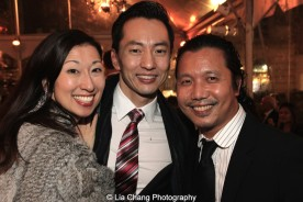 Kim Varhola with her husband Michael K. Lee and Victor Lirio. Photo by Lia Chang