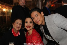 Lea Salonga with her mother Ligaya Alcantara Imutan and her husband Robert Chien. Photo by Lia Chang