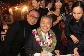 Paul Nakauchi and George Takei at the opening night party of ALLEGIANCE on November 8, 2015. Photo by Lia Chang.