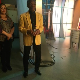 Amanda Meyers and André De Shields at the WGN Studios in Chicago on November 9, 2015. Photo by Lia Chang