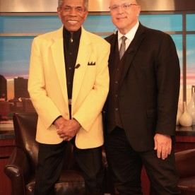 André De Shields with WGNTV's Dean Richards at the WGN Studios in Chicago on November 9, 2015. Photo by Lia Chang