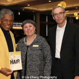 André De Shields, Leslie Shook and Theatre School Dean John Culbert at the 27th Annual Awards for Excellence in the Arts Gala held in the Atlantic Ballroom of the Radisson Blue Aqua Hotel in Chicago on November 9, 2015. Photo by Lia Chang
