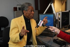 André De Shields in an interview with WBBMNewsradio's Lisa Fielding in Chicago on November 9, 2015. Photo by Lia Chang