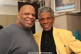 Makeup artist Joseph Hampton and André De Shields at the WGN Studios in Chicago on November 9, 2015. Photo by Lia Chang