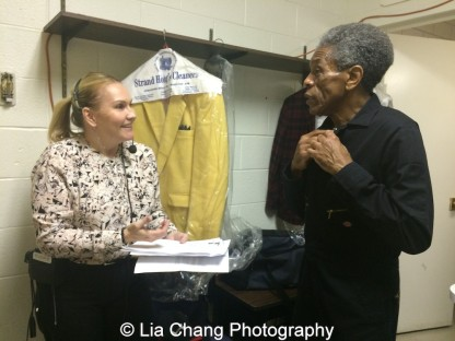 Kristina Miller Liberatore Segment Producer of WGN Midday News and André De Shields in the dressing room at the WGN Studios in Chicago on November 9, 2015. Photo by Lia Chang