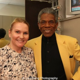 André De Shields and Kristina Miller Liberatore, Segment Producer of WGN Midday News, at the WGN Studios in Chicago on November 9, 2015. Photo by Lia Chang
