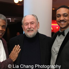André De Shields with Dennis Zacek and Theatre School student Christopher Jones at the 27th Annual Awards for Excellence in the Arts Gala held in the Atlantic Ballroom of the Radisson Blue Aqua Hotel in Chicago on November 9, 2015. Photo by Lia Chang
