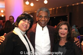 André De Shields with Eileen LaCario, Vice President, Broadway in Chicago, and Sondra Healy, Theatre School Board Member at the 27th Annual Awards for Excellence in the Arts Gala held in the Atlantic Ballroom of the Radisson Blue Aqua Hotel in Chicago on November 9, 2015. Photo by Lia Chang