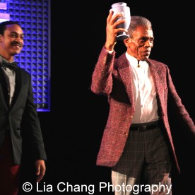 André De Shields accepts the 2015 Award for Excellence in the Arts from Christopher Jones at the 27th Annual Awards for Excellence in the Arts Gala held in the Atlantic Ballroom of the Radisson Blue Aqua Hotel in Chicago on November 9, 2015. Photo by Lia Chang