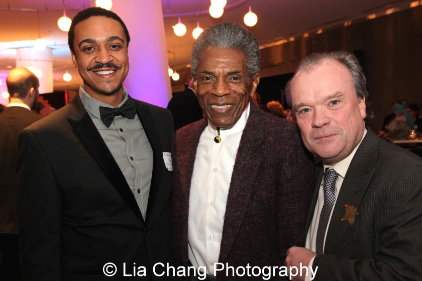 Theatre School student Christopher Jones, André De Shields and Chris Jones, Chicago Tribune theater critic at the 27th Annual Awards for Excellence in the Arts Gala held in the Atlantic Ballroom of the Radisson Blue Aqua Hotel in Chicago on November 9, 2015. Photo by Lia Chang