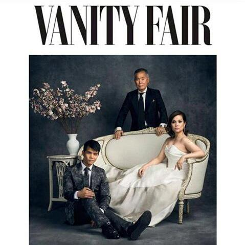 Telly Leung, George Takei and Lea Salonga in VANITY FAIR. Designs by Malan Breton. Photo by Luke Fontana