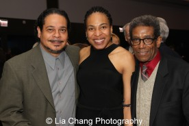 Eddie Torres and his wife Karen Aldridge with Chuck Smith at the 27th Annual Awards for Excellence in the Arts Gala held in the Atlantic Ballroom of the Radisson Blue Aqua Hotel in Chicago on November 9, 2015. Photo by Lia Chang