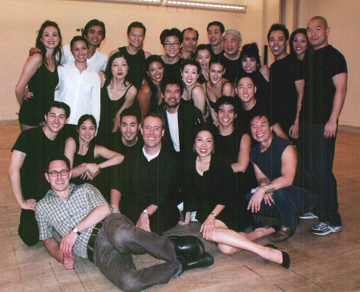 The cast and creative team of the 2002 David Henry Hwang revisal of Flower Drum Song in rehearsal in New York. Photo by Lia Chang