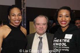 Karen Aldridge, Chris Jones, Chicago Tribune theater critic, and Theatre School student Leea Ayers at the 27th Annual Awards for Excellence in the Arts Gala held in the Atlantic Ballroom of the Radisson Blue Aqua Hotel in Chicago on November 9, 2015. Photo by Lia Chang
