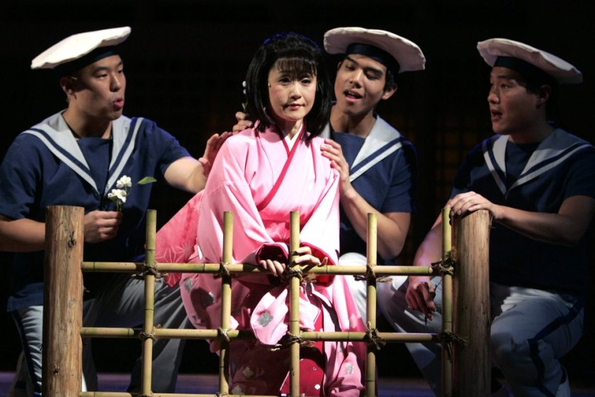 "Hoon Lee, Mayumi Omagari, Telly Leung, and Darren Lee in the 2005 Roundabout Theatre Company revival of ""Pacific Overtures"" on Broadway. Photo by Joan Marcus"