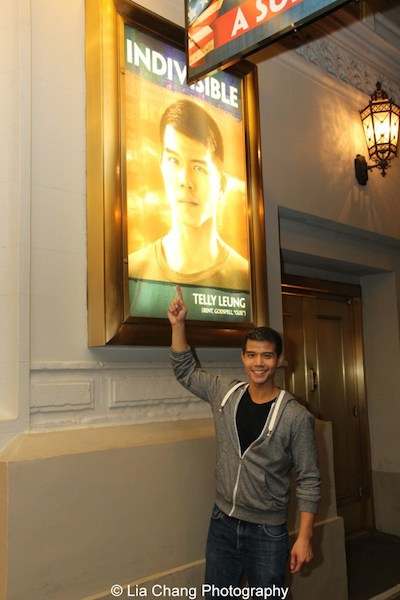 Telly Leung in front of the Longacre Theatre in New York on October 6, 2015. Photo by Lia Chang