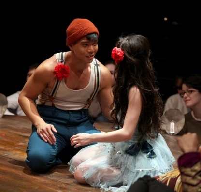 Telly Leung and Anna Maria Perez de Tagle in Godspell. Photo by Jeremy Daniel