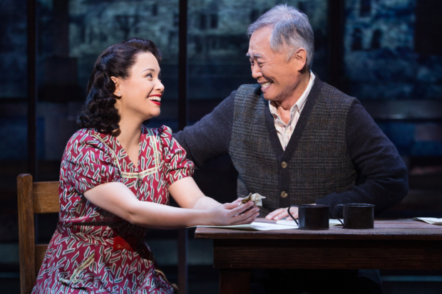 Lea Salonga and George Takei star in Allegiance at Broadway's Longacre Theatre. Photo by Matthew Murphy