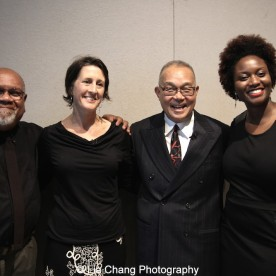 Juan Sanchez, Beth Krebs, Arlan Huang and Shervone Neckles-Ortiz, Artist Support Manager of the Joan Mitchell Foundation. Photo by Lia Chang