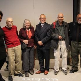 Shervone Neckles-Ortiz, Artist Support Manager of the Joan Mitchell Foundation, John Koos, Henrietta Mantooth, Arlan Huang, Devraj Dakoji and Juan Sanchez. Photo by Lia Chang