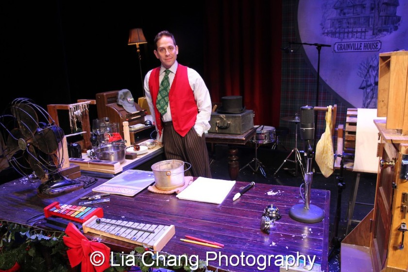 Garth Kravits displays his toys on the foley table at Bucks County Playhouse in New Hope, PA on December 16, 2015. Photo by Lia Chang