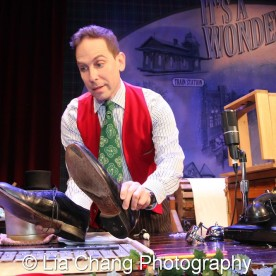 Garth Kravits at the foley table at Bucks County Playhouse in New Hope, PA on December 16, 2015. Photo by Lia Chang