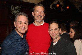 Kevin Pariseau, Alex Fraser, Producing Director of Bucks County Playhouse and Garth Kravits at the holiday party at The Raven in New Hope, PA on December 16, 2015. Photo by Lia Chang