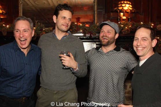 Cast members Kevin Pariseau, Wayne Wilcox, Brandon Ellis and Garth Kravits at the holiday party at The Raven in New Hope, PA on December 16, 2015. Photo by Lia Chang