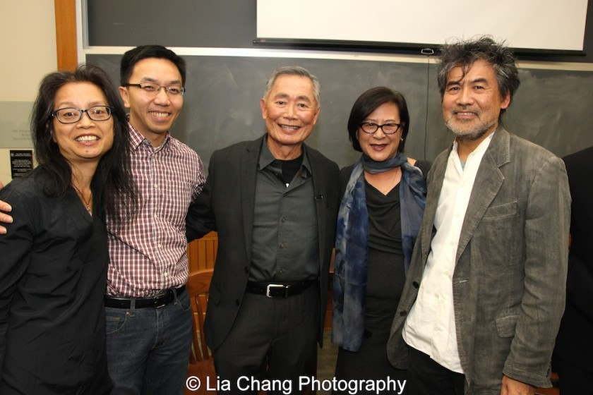Marie Myung-Ok Lee, Van Tran, George Takei, Mae Ngai and David Henry Hwang at The Center for the Study of Ethnicity and Race at Columbia University on December 7, 2015. Photo by Lia Chang
