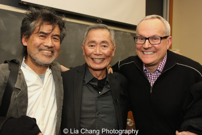 David Henry Hwang, George Takei and his husband Brad Takei at The Center for the Study of Ethnicity and Race at Columbia University in New York on December 7, 2015. Photo by Lia Chang