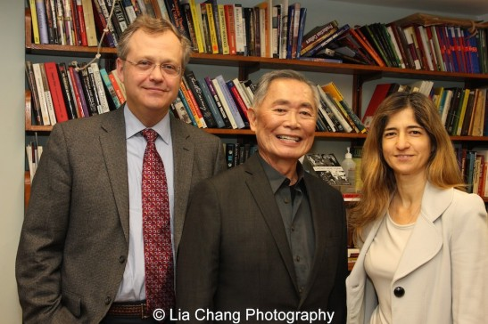 Eric L. Muller, George Takei and Frances Negron-Muntaner, director for the Center for the Study of Ethnicity and Race at the opening reception for Colors of Confinement at the Gallery at the Center at Columbia University in New York on December 7, 2015. Photo by Lia Chang