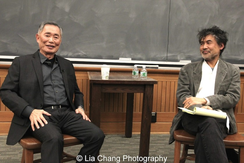 George Takei and David Henry Hwang in conversation at The Center for the Study of Ethnicity and Race at Columbia University in New York on December 7, 2015. Photo by Lia Chang