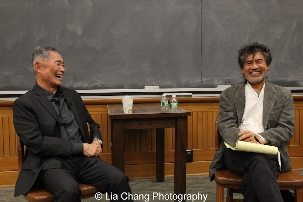 George Takei and David Henry Hwang in conversation at The Center for the Study of Ethnicity and Race at Columbia University on December 7, 2015. Photo by Lia Chang