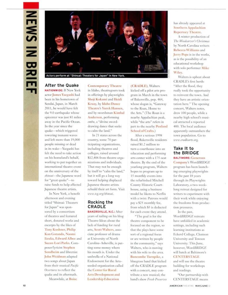 American Theatre- Shinsai, May/June 2012