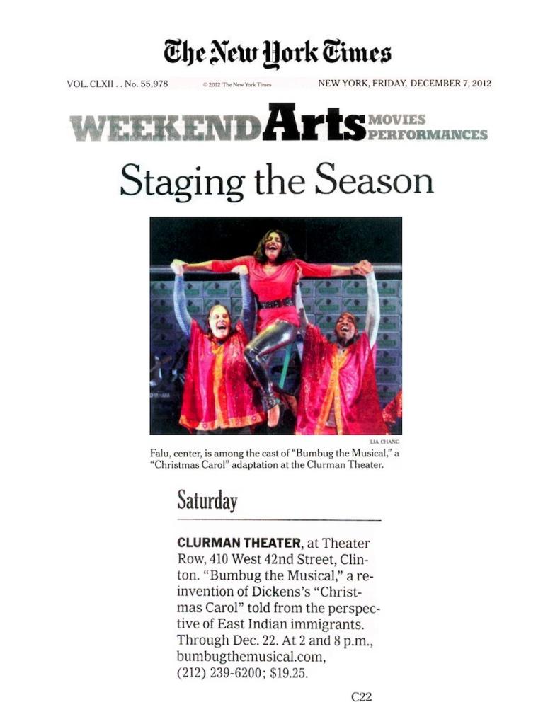 New York Times- Bumbug the Musical, December 2012