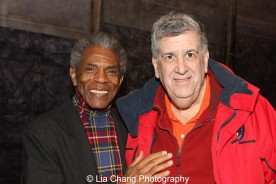 André De Shields and Elliott Masie at the Longacre Theatre in New York on February 13, 2016. Photo by Lia Chang