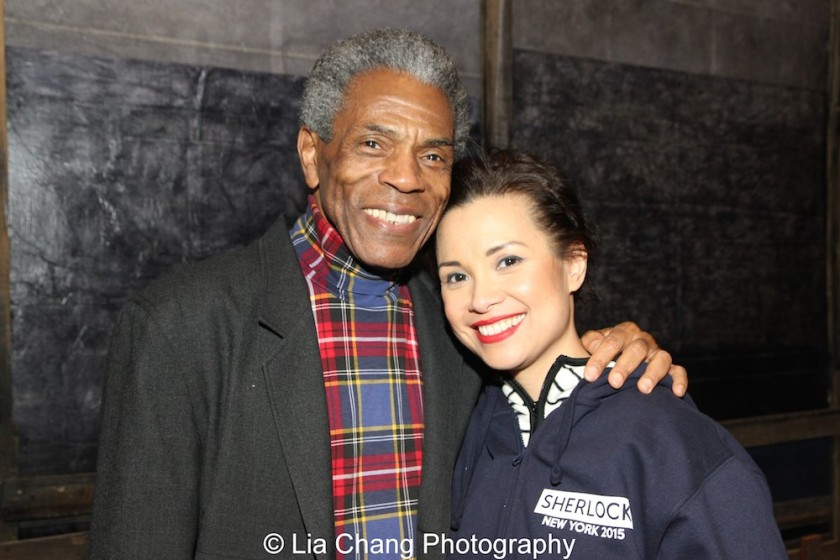 André De Shields and Lea Salonga at the Longacre Theatre in New York on February 13, 2016. Photo by Lia Chang