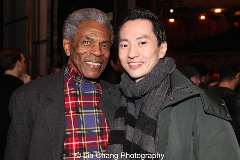 André De Shields and Michael K. Lee at the Longacre Theatre in New York on February 13, 2016. Photo by Lia Chang