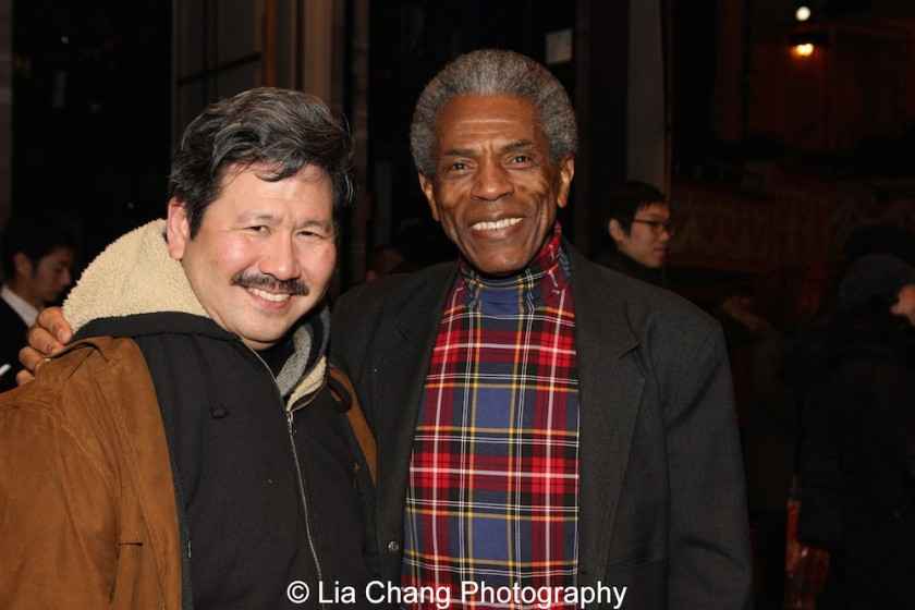 Scott Watanabe and André De Shields at the Longacre Theatre in New York on February 13, 2016. Photo by Lia Chang