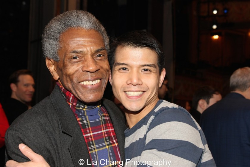 André De Shields and Telly Leung at the Longacre Theatre in New York on February 13, 2016. Photo by Lia Chang