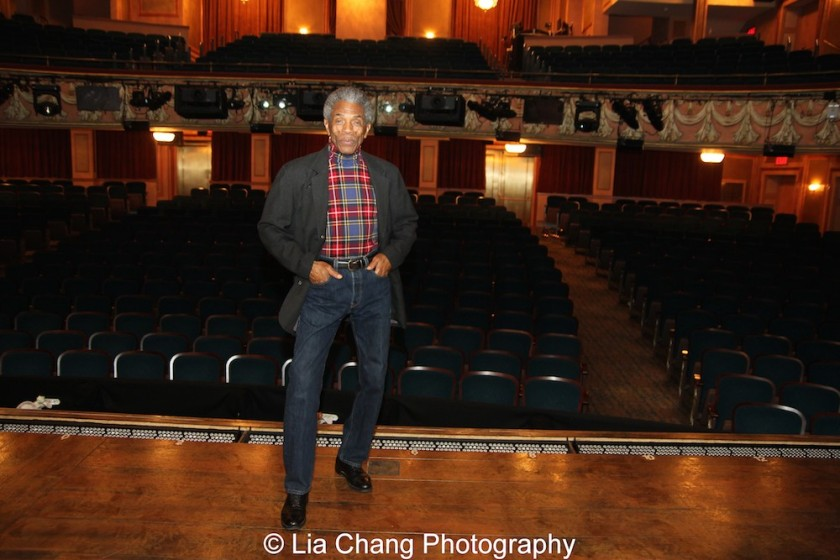André De Shields onstage at the Longacre Theatre in New York on February 13, 2016, where he appeared in Ain't Misbehavin' in 1978 and Prymate in 2004. Photo by Lia Chang