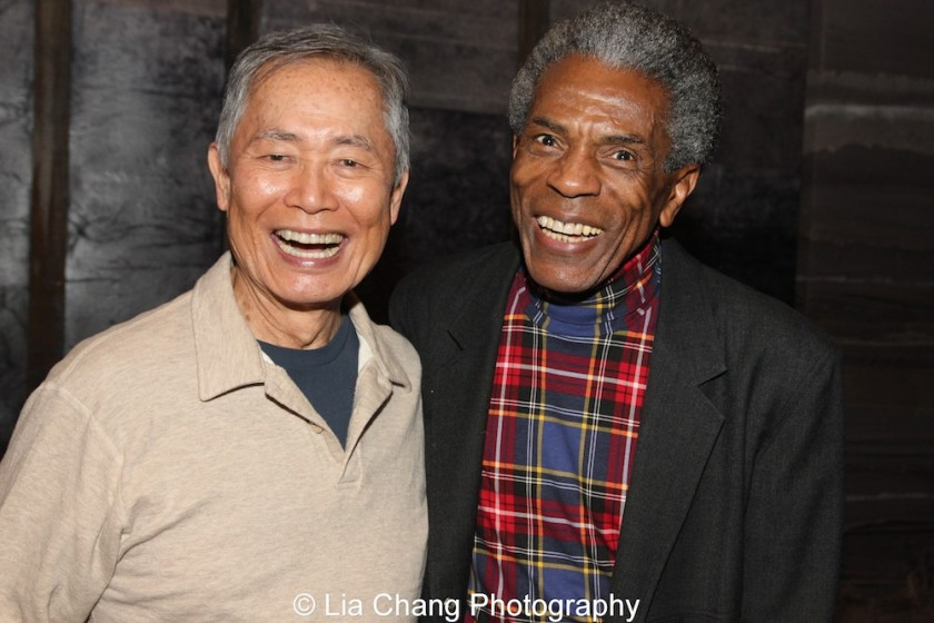 George Takei and André De Shields at the Longacre Theatre in New York on February 13, 2016. Photo by Lia Chang