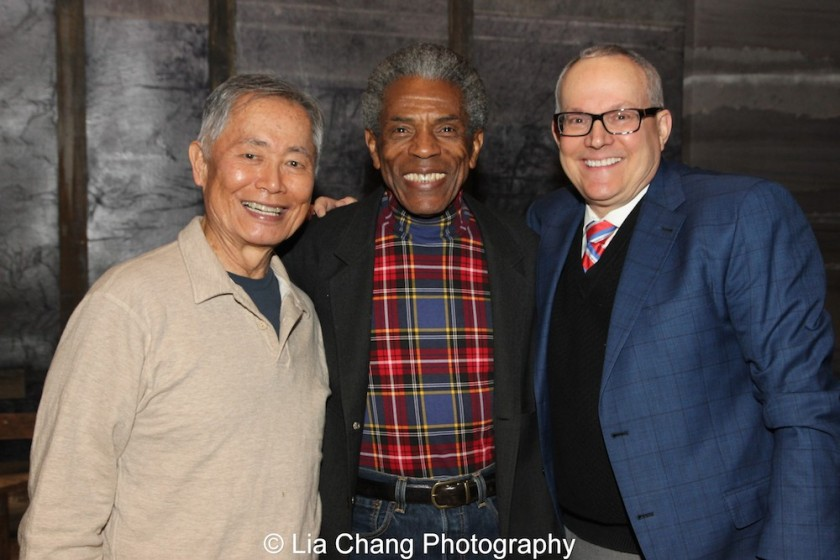 George Takei, André De Shields and Brad Takei at the Longacre Theatre in New York on February 13, 2016. Photo by Lia Chang