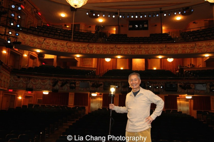 George Takei onstage at the Longacre Theatre in New York on February 13, 2016. Photo by Lia Chang
