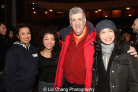 Lea Salonga, Momoko Sugai, Elliott Masie and Rumi Oyama at the Longacre Theatre in New York on February 13, 2016. Photo by Lia Chang