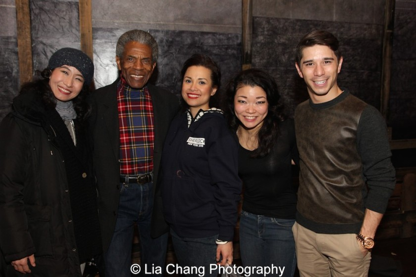 Rumi Oyama, André De Shields, Lea Salonga, Momoko Sugai and Sam Tanabe at the Longacre Theatre in New York on February 13, 2016. Photo by Lia Chang