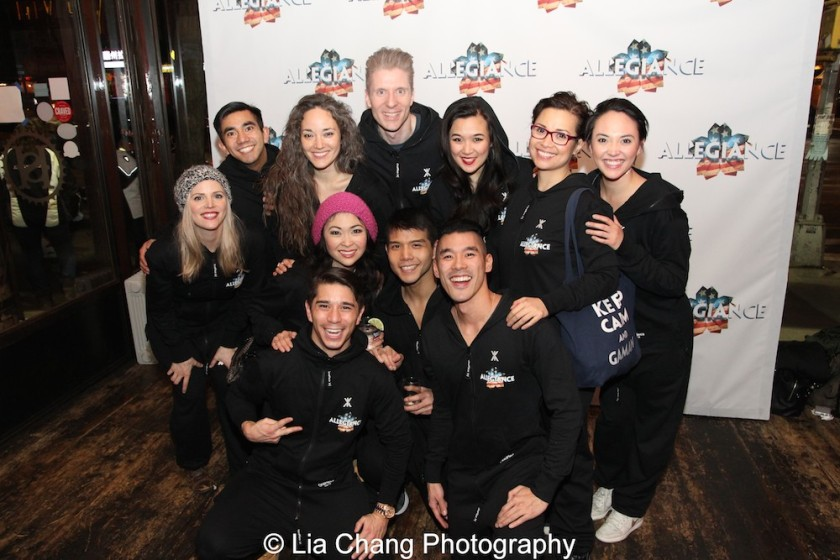 Rocking their ALLEGIANCE onesies! Front Row: Sam Tanabe, Janelle Dote,Telly Leung, Chris Kong; Back Row: Katie Rose Clarke, Aaron J. Albano, Kiku Enomoto, Lorenzo Thione, Elena Wang, Lea Salonga, Belinda Allyn. Photo by Lia Chang